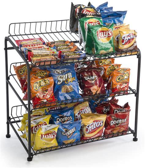 Snack Rack by Wire Countertop Display Rack 3 Open Shelves Levelers