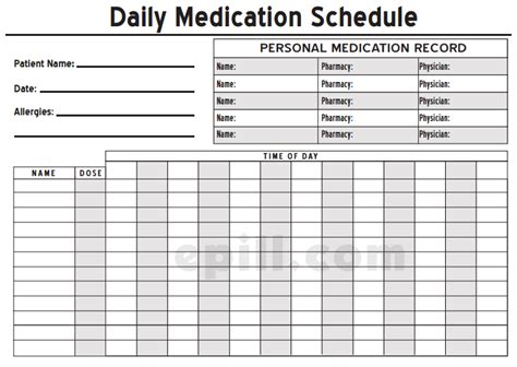 6 medication intake schedule templates word templates