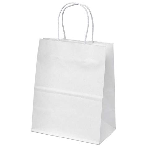 Paper Gift Bags - white kraft paper bags merchandise shopping favor