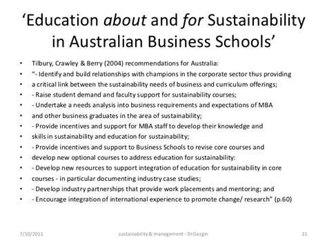 Mba Sustainability Australia by Sustainability Management Education India 2011
