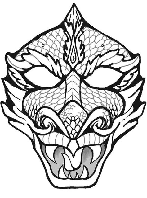 chinese mask coloring page coloringcrew chinese dragon