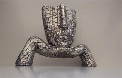 design visage sculpture visage d 233 coration futuriste design acier