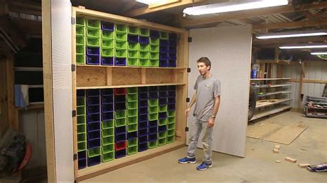 Garage Organization Cabinets How To Make The Largest Garage Peg Board And Bin Cabinet