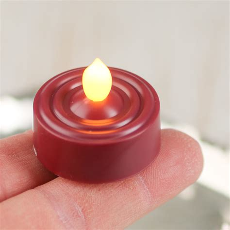 Tea Light Candles Burgundy Battery Operated Flickering Tea Light Candle