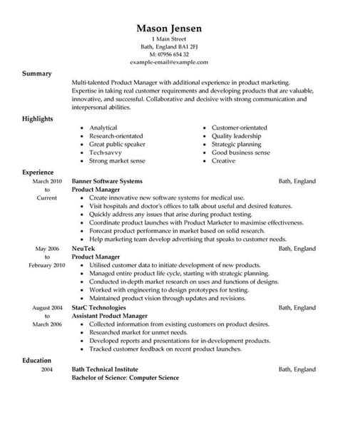 product manager resume best product manager resume exle livecareer