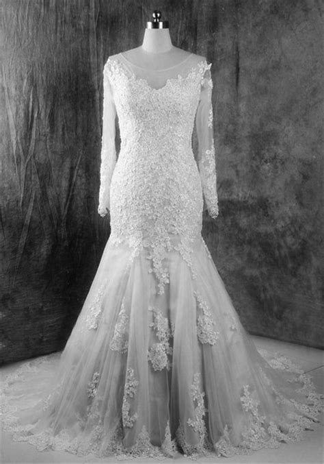 Vintage Mermaid Illusion Neckline Long Sleeve Lace Wedding Dress Court Train