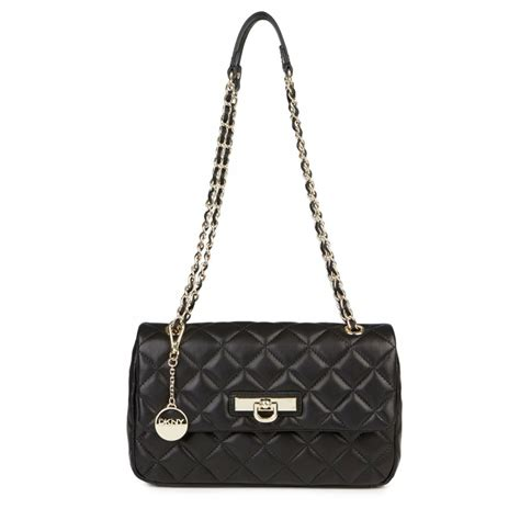 dkny quilted leather shoulder bag in black lyst