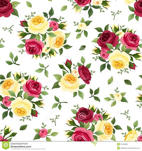 english rose pattern wallpaper seamless pattern with red and yellow roses on white