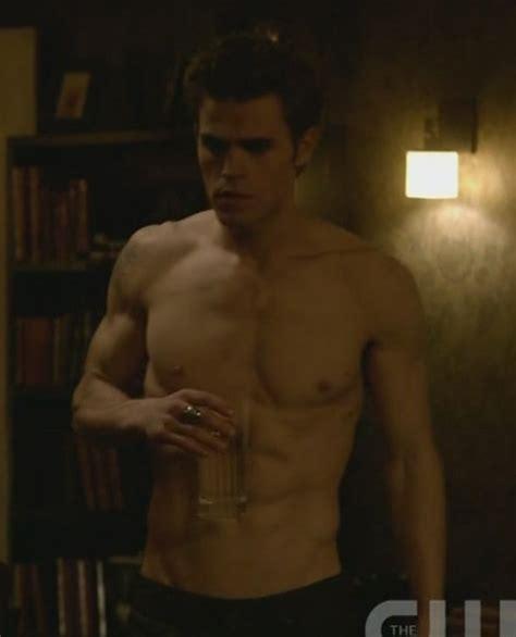 shirtless gazing paul wesley