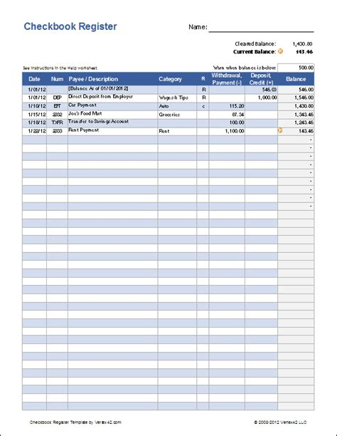 account book template printable free excel checkbook register printable