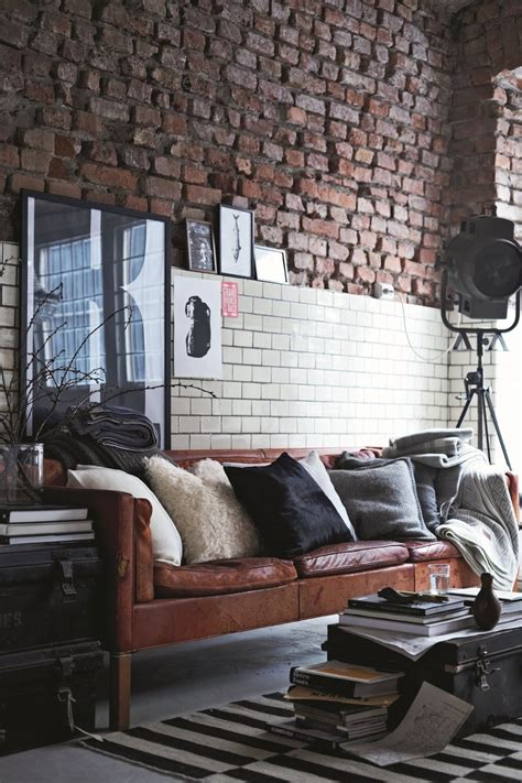 leather home decor exposed brick apartment leather couch modern cozy