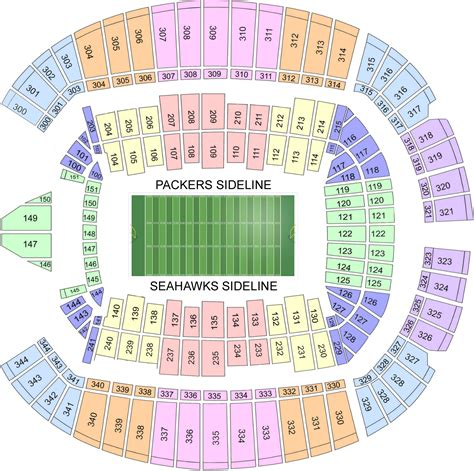 seahawks seating chart with rows event usa packers tickets and packages seattle
