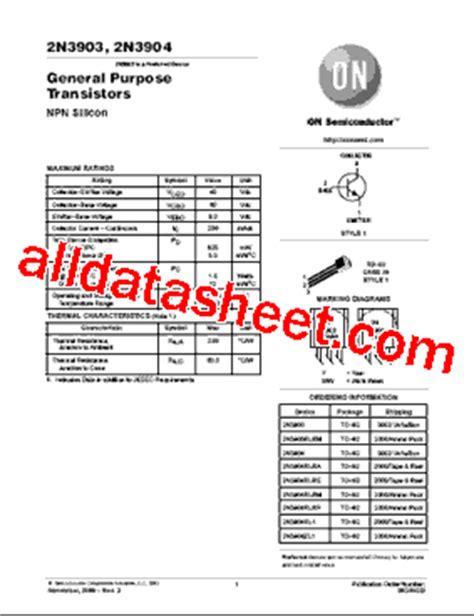 datasheet of transistor 2n3904 2n3904 datasheet pdf on semiconductor