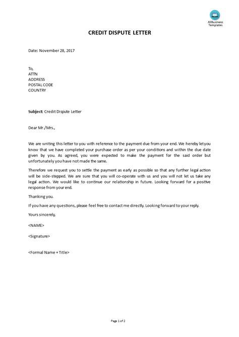 credit dispute letter templates allbusinesstemplatescom