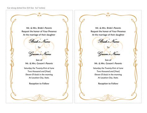 Wedding Invitation Letter In Word Format Wedding Invitation Templates Sle Format