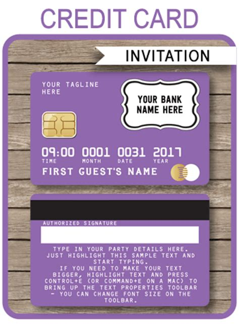 credit card template 2016 purple credit card invitations mall scavenger hunt