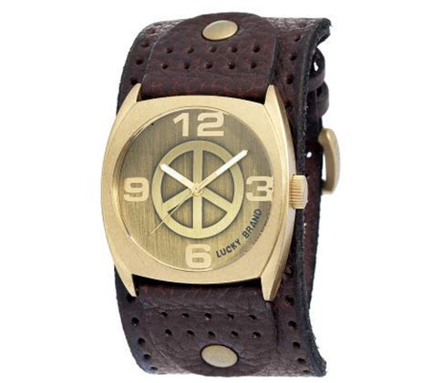 lucky brand s brown leather cuff page 1 qvc