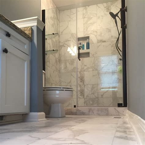 bathroom remodel with faux marble tile it s porcelain