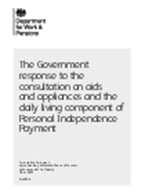 personal independence payment aids and appliances descriptors consultations gov uk