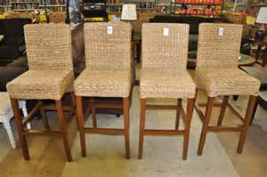 High back wicker bar stool pair made from hardwood with espresso