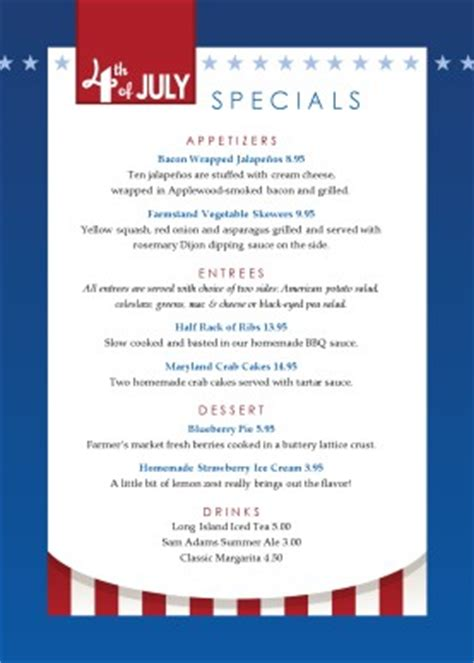 4th Of July Menu Template by Independence Day Table Tent 4th Of July Menus