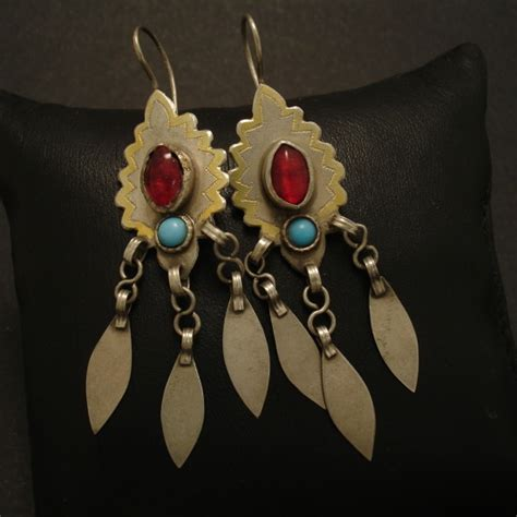 Handmade Tribal Jewellery - traditional handmade turkman silver earrings christopher