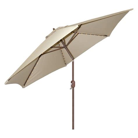 Lighted Patio Umbrellas 9 Aluminum Led Lighted Crank Lift Patio Umbrella Galtech Target