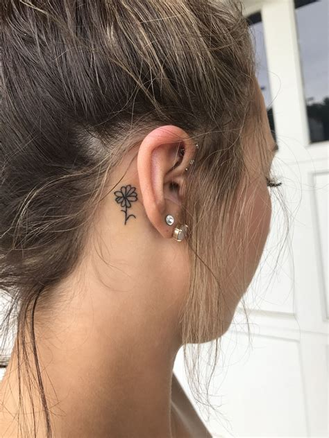 small tattoos behind ear simple flower ear tattoos piercings