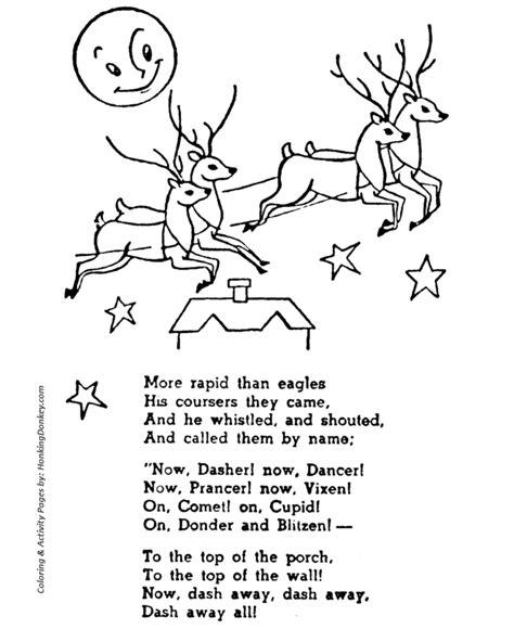santas reindeer coloring pages dasher dancer prancer