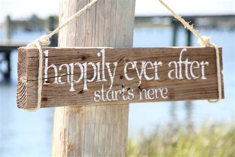 Handmade Signs - happily after starts here reclaimed wood wedding sign