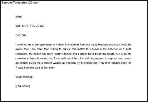 Write Legal Letter Template Without Prejudice   Sample