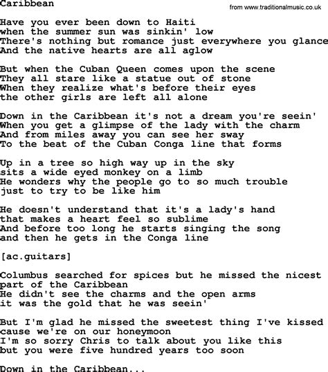 song lyrics willie nelson willie nelson song caribbean lyrics