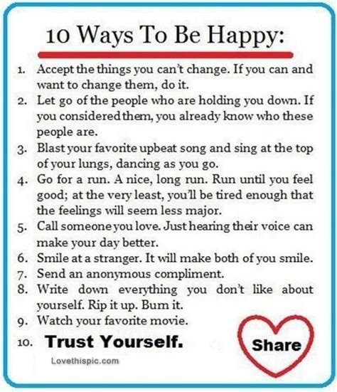 10 Ways To Make A Go You by 10 Ways To Be Happy Pictures Photos And Images For