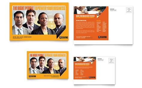 staffing amp recruitment agency postcard template design