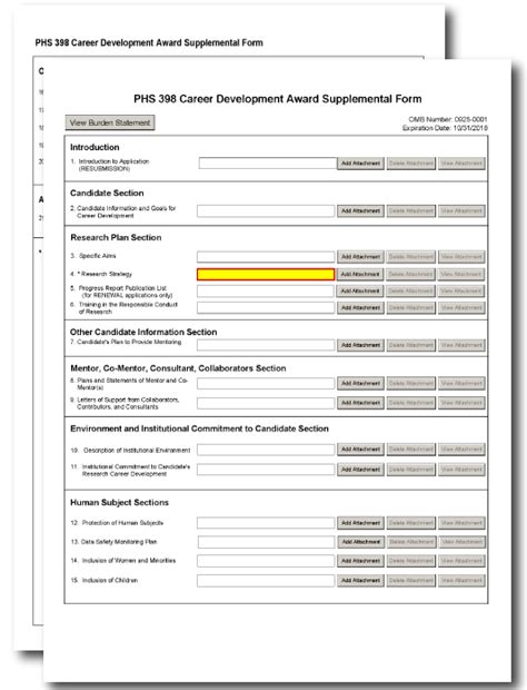 G 410 Phs 398 Career Development Award Supplemental Form Nih Budget Template
