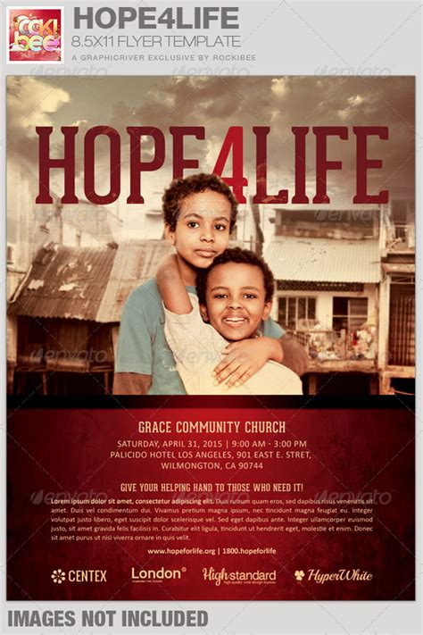 Hope4life Charity Event Flyer Template By Rockibee Graphicriver Church Promo Templates