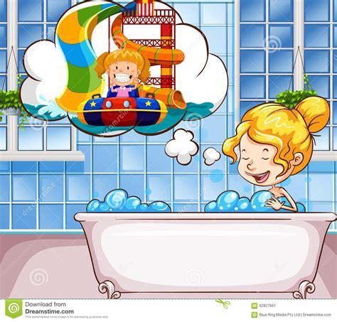 ragazze nella vasca ragazza fantastica nella vasca illustrazione