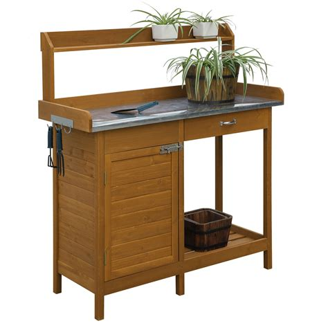 top bench outdoor home garden potting bench with metal table top and