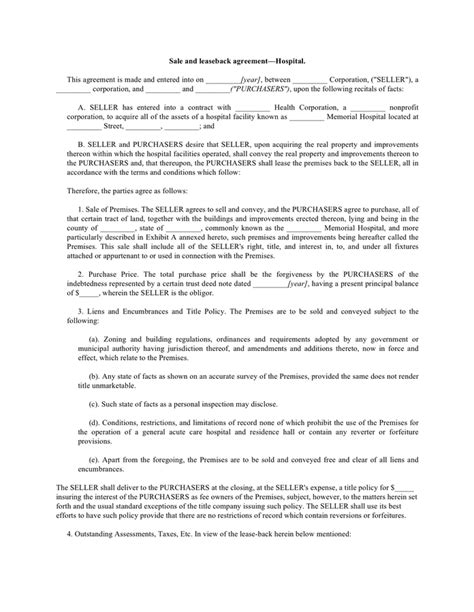 leaseback agreement template leaseback agreement template sale and leaseback agreement
