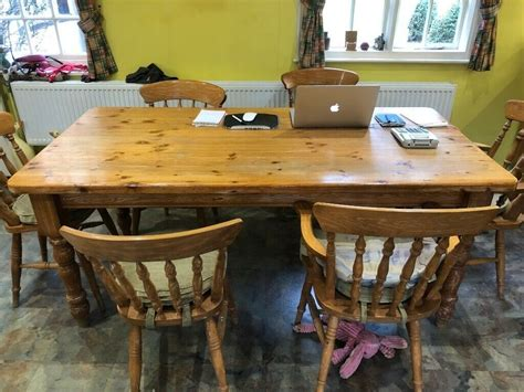 large pine kitchen dining room table    chairs