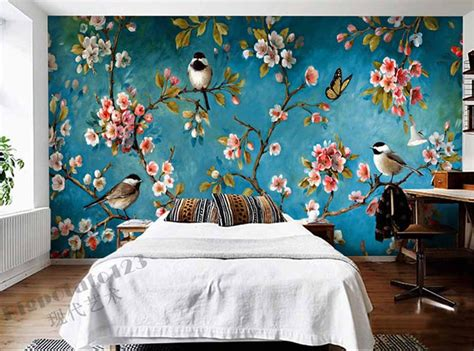 flower design for wall painting indoor muur muurschildering behang pruimenbloesem perzik