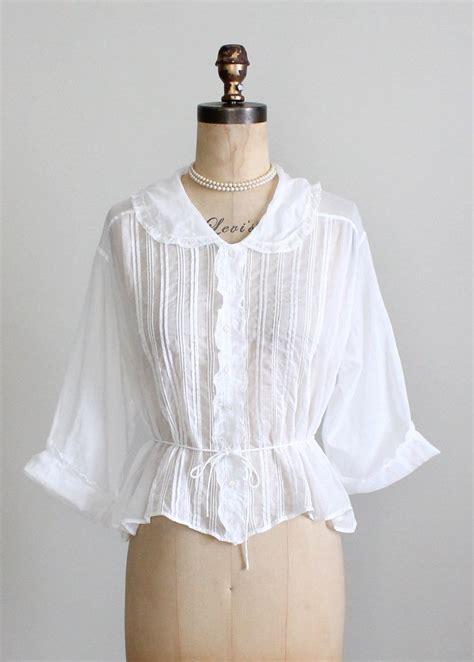 Cotton Blouse Size S M L 36709 antique edwardian white cotton blouse raleigh vintage