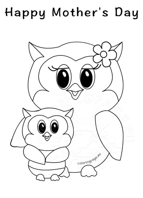 happy birthday owl coloring pages happy mother s day owls coloring page