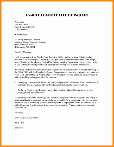 job inquiry email cover letter templatezet format of