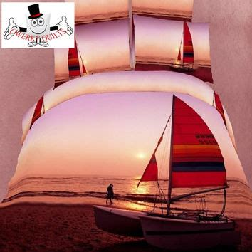 sunset bedding 3d bed set yacht beached sunset bedding from qwerky quilts