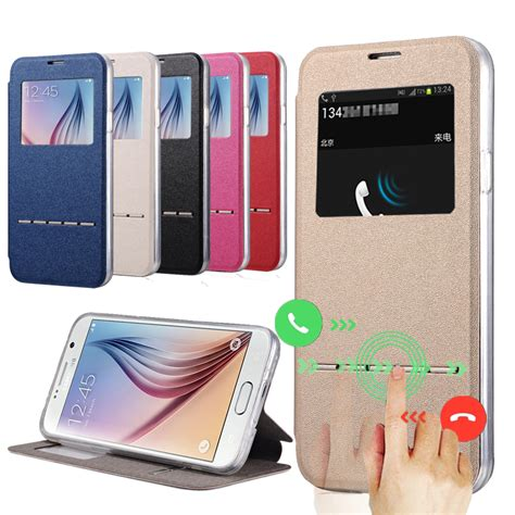 Flip Window Wallet Tpu Leather Samsung On7 On 7 flip tpu leather for samsung galaxy s6 g9200 s6 edge g9250 window view display answer call
