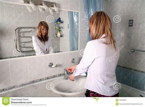 Blonde In Bathroom Stock Image Image 12048691
