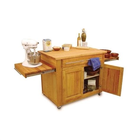 catskill craftsmen empire mobile butcher block natural finish kitchen cart ebay