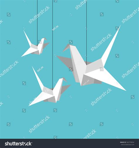 Origami Start - indoor flight origami birds start fly stock vector