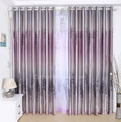 Purple Gray Curtains Decorative Gradient Gray And Purple Polyester Bedroom Curtain Printed With Lavender Pattern